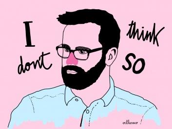 Bearded man on pink_illustration Villaraco