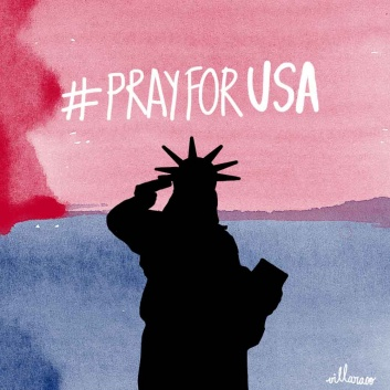 pray for usa - Statue of liberty - villaraco