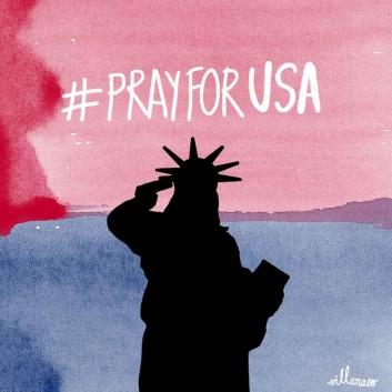 pray for usa - Statue of liberty - villaraco