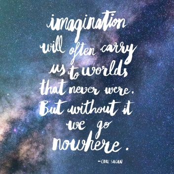 "carl sagan quote ""imagination will often carry you"" - lettering villaraco"