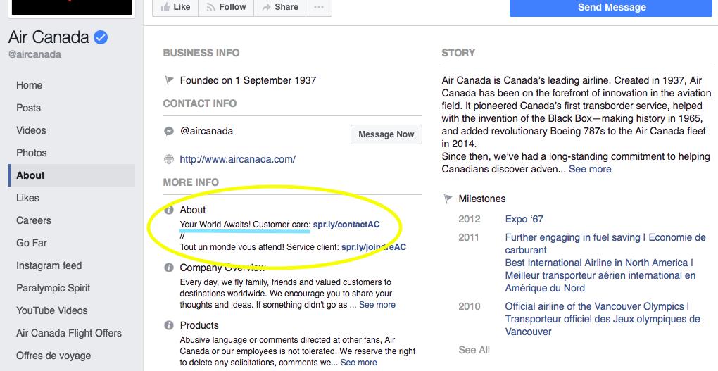 Google search example - Facebook SEO optimization